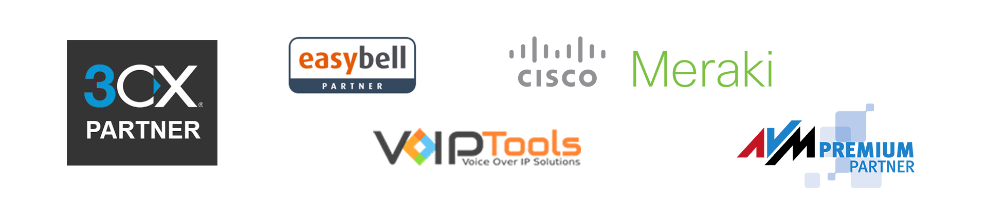 Junge Software Kaiserslautern Partnerlogos - 3CX, EasyBell, Cisco Meraki, VoIP Tools, AVM
